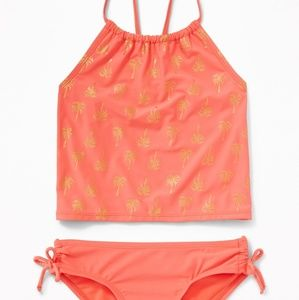 Coral Neon Ruched Side-Tie Tankini for Girls M